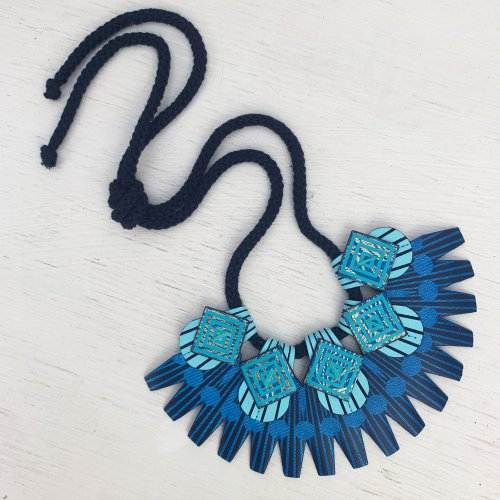Art deco bib necklace in shades of blue