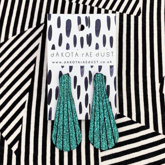 emerald glitter stud earrings