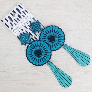 Bright blue oversize earrings