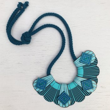 Blue and turquoise small fan shaped necklace