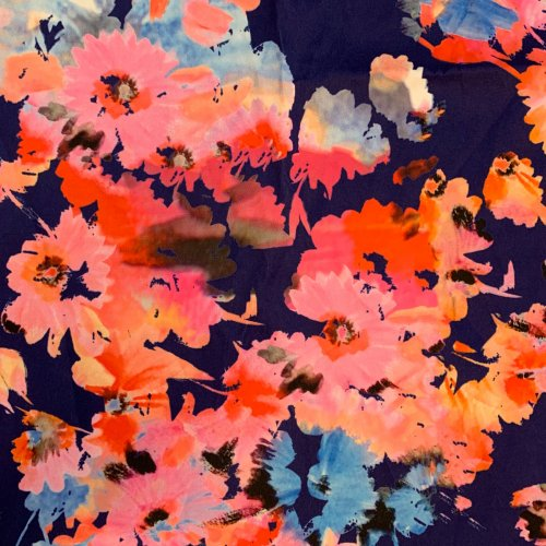 Secondhand floral dress fabric. Pink, orange and navy painty floral print