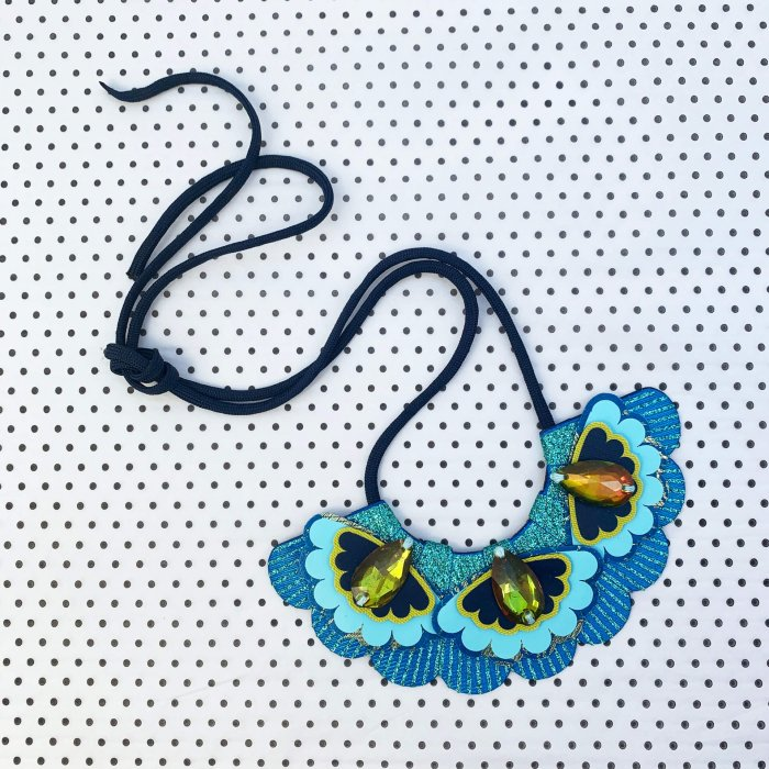 Turquoise, blue and lime bib necklace with green jewels and glitter