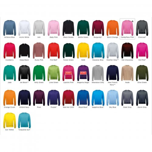 Colour chart for classic cut sweatshirt