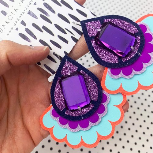 oversize jazzy plectrum earrings jewelled