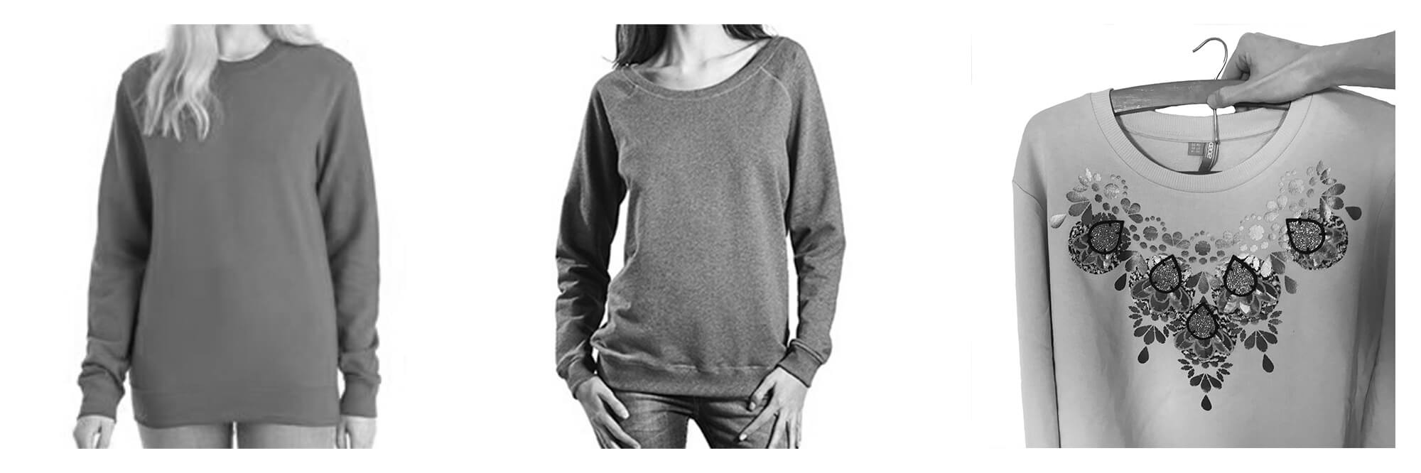 Three styles of sweatshirt show in black and white photographs