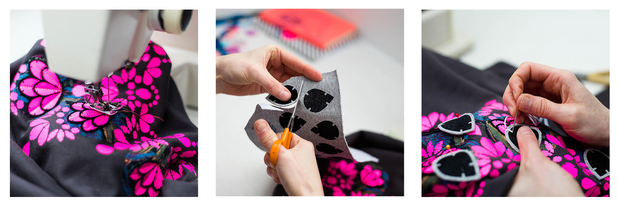 This image consists of the photos, each depicts a different stage of the embellished sweatshirt stitching process. A sweatshirt with a fluoro pink print is seen on a sewing machine. A pair of woman's hands using small sharp, orange handled scissors to cut out some printed, fabric teardrop shapes and the same hands are seen hand sewing the teardrops to the sweatshirt.