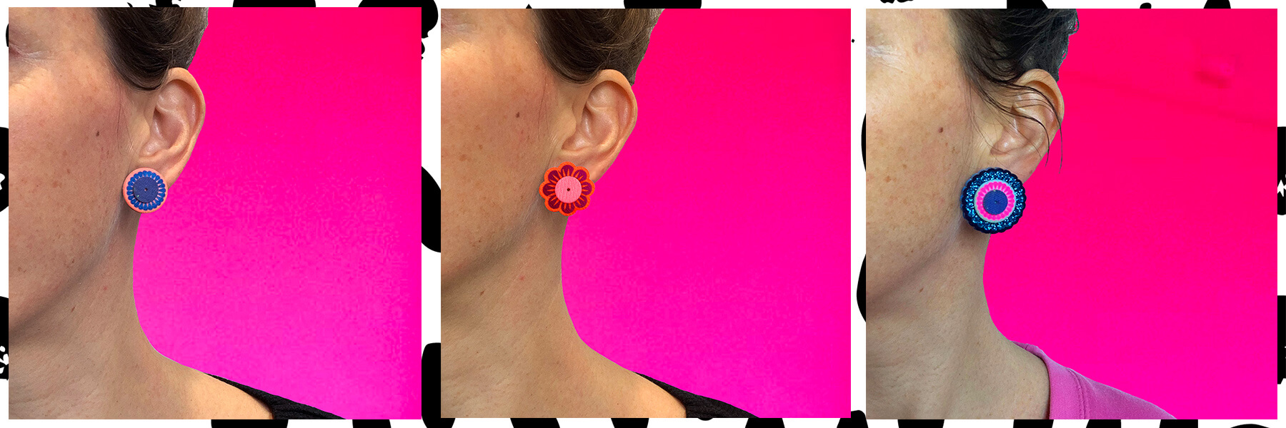 Three images of the side of a female face, a different pair of stud earrings is being modelled in each picture