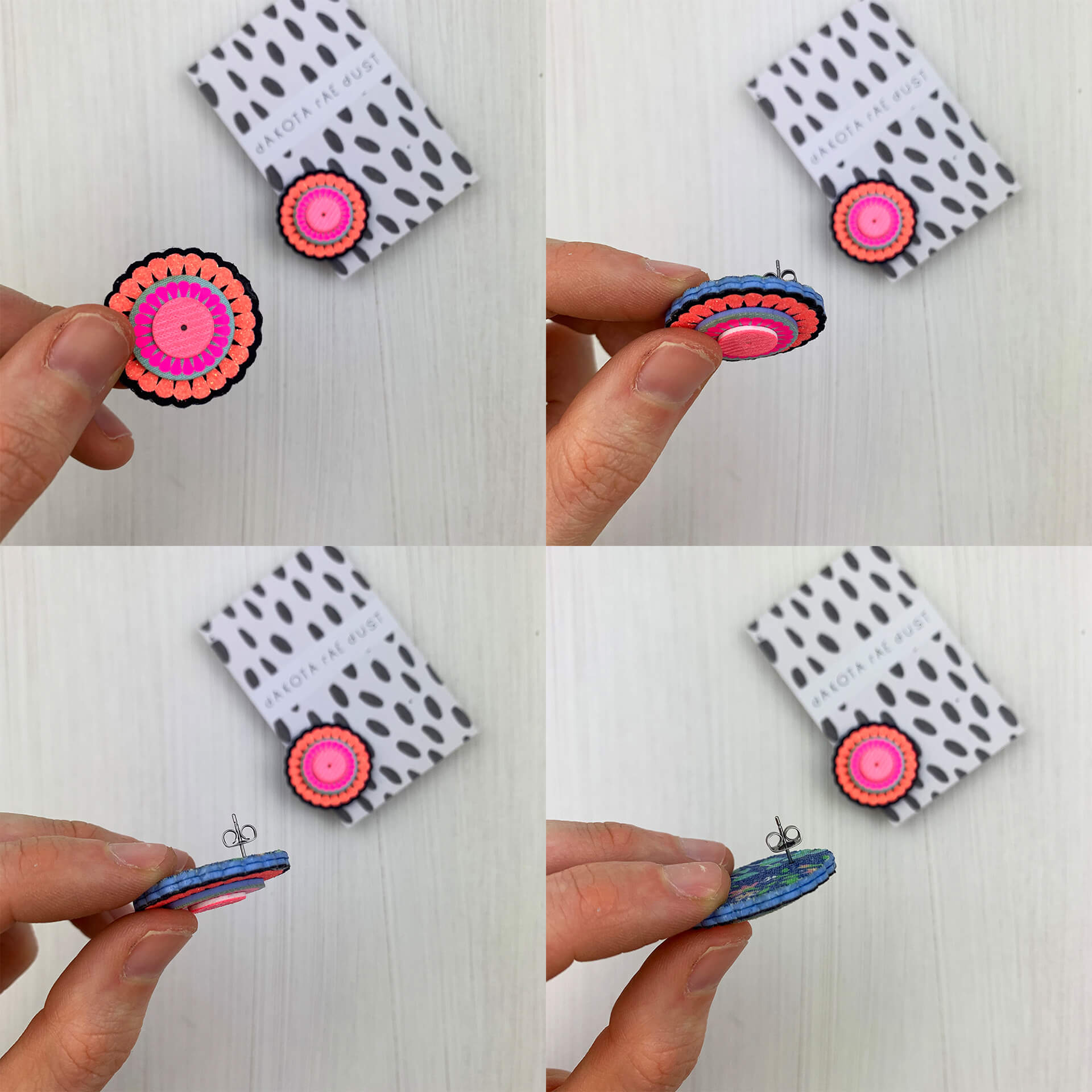 Four images show the same pink fabric stud earring being turned on it's side to show the reverse side, backed with vintage fabric.