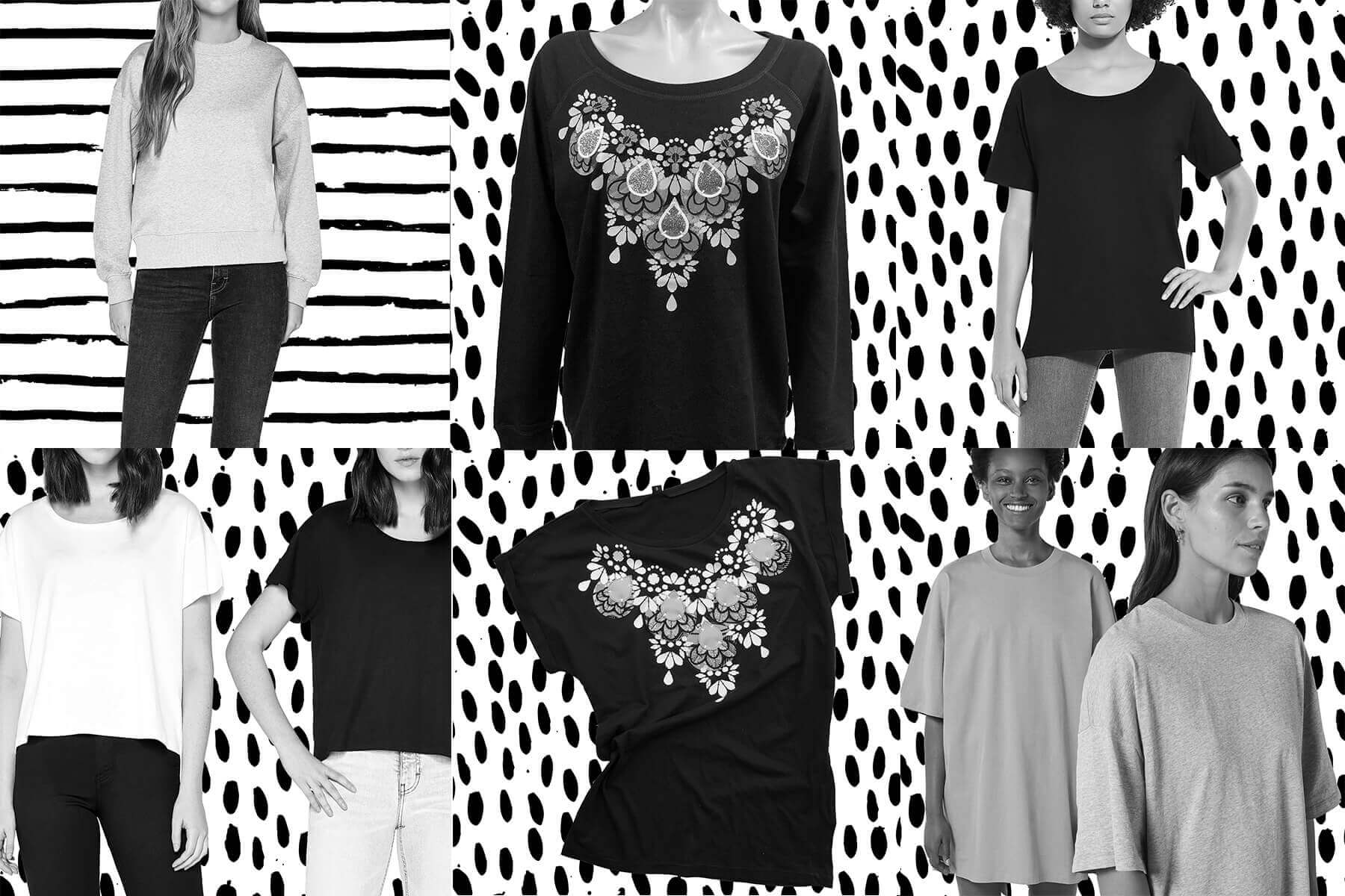 A grid of six images, all black and white photographs of garment options for the embellished sweatshirts, T-shirts and T-dress
