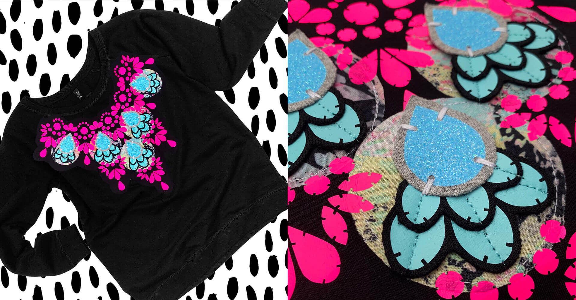 A slim fit women's sweatshirt with a fluorescent pink costume jewellery inspired print over the bib area is laid out flat against a black and white patterned background. The embellished sweatshirt has glittery blue teardrop shapes and recycled fabric applique panels.