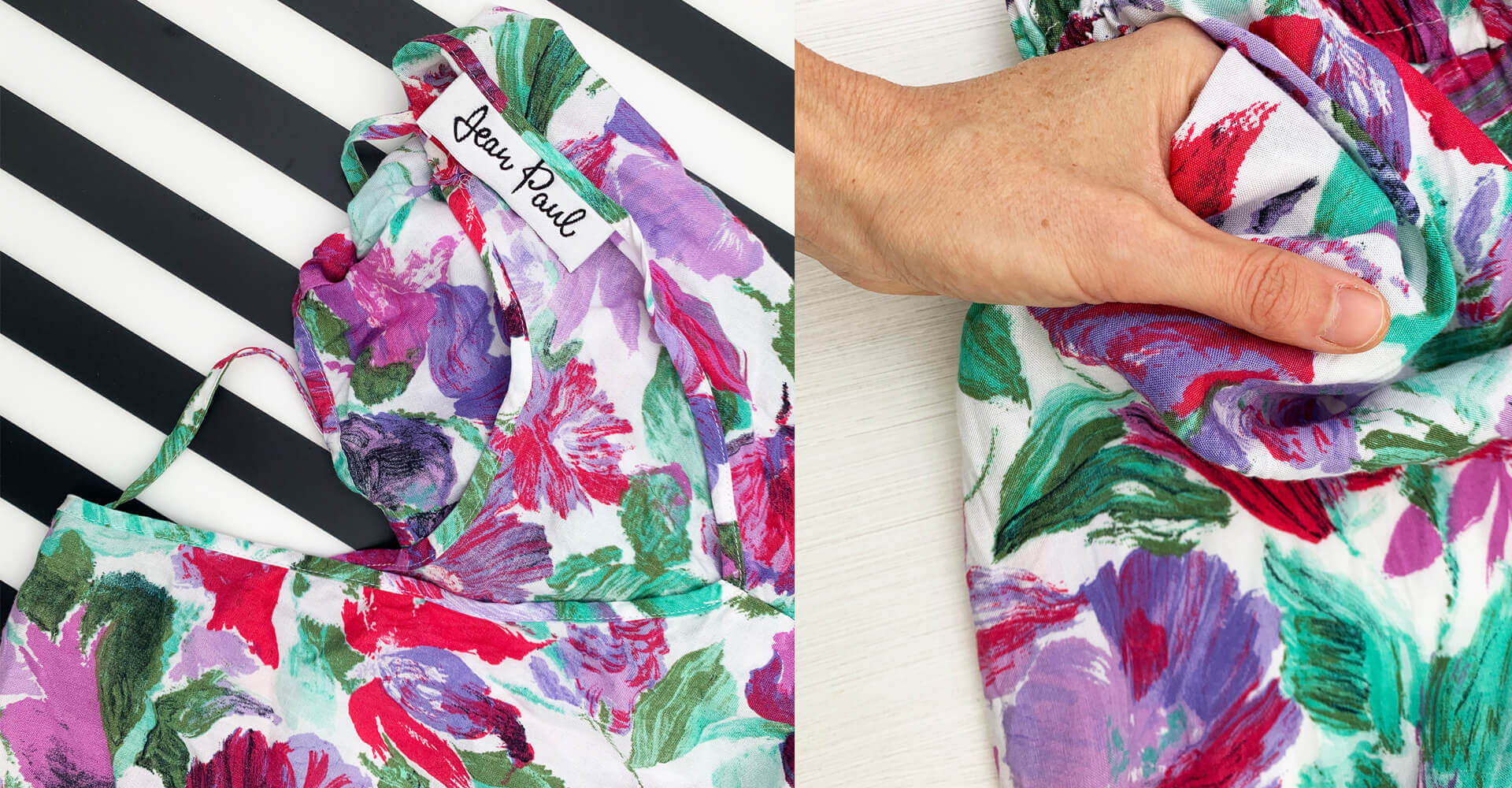 A close up of some vintage floral dress fabric, seen on the left hand side of the image against a black a white boldly striped background, and on the right hand side of the image being held by a white woman's hand to show the scale of the print.