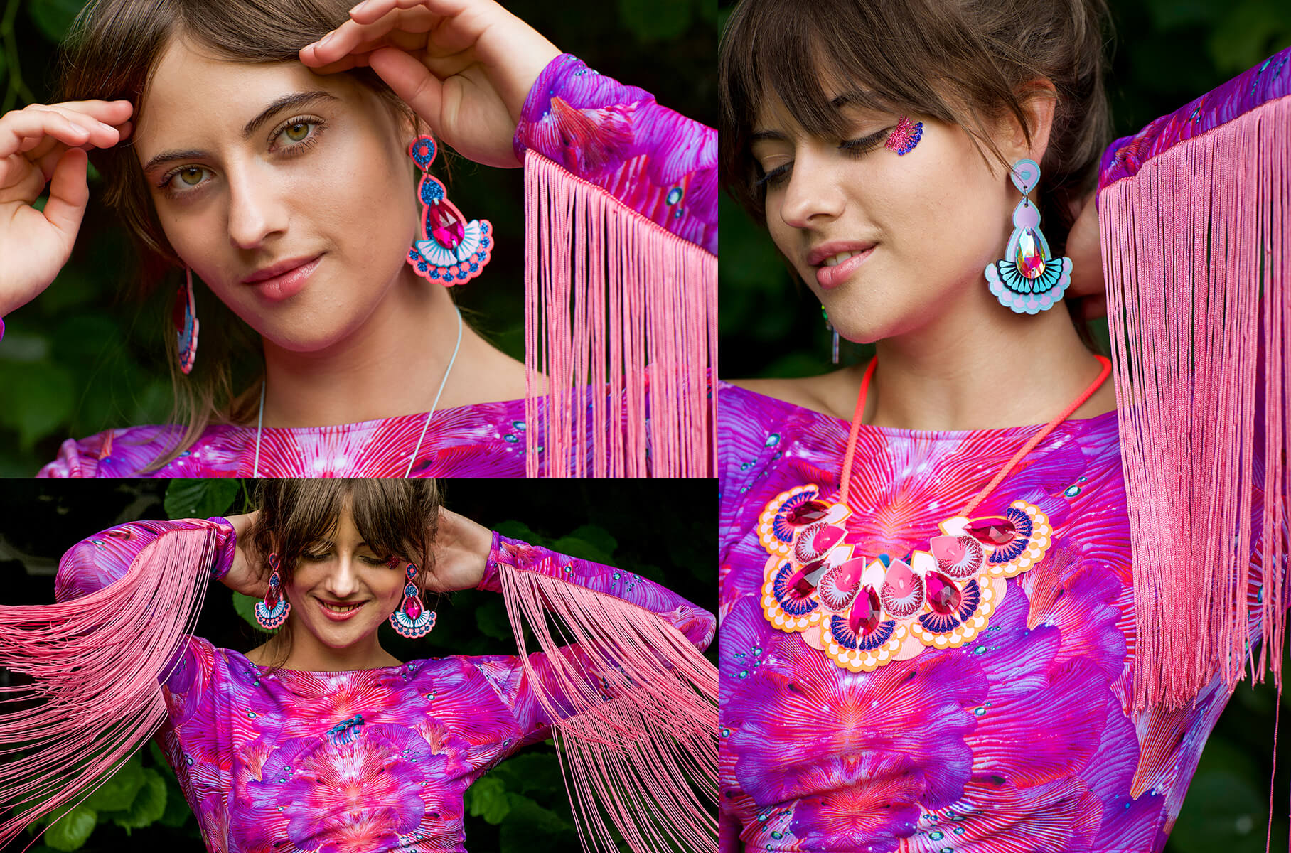 This images contains three photographs of a young woman with brown hair and a soft, grown out fringe modelling a pair of dakota rae dust Statement jewel earrings and a bright pink, patterned lycra crop top with long, fluorescent fringe trimmed sleeves. In each images she is posing with her hand behind her head showing off the long fringe.