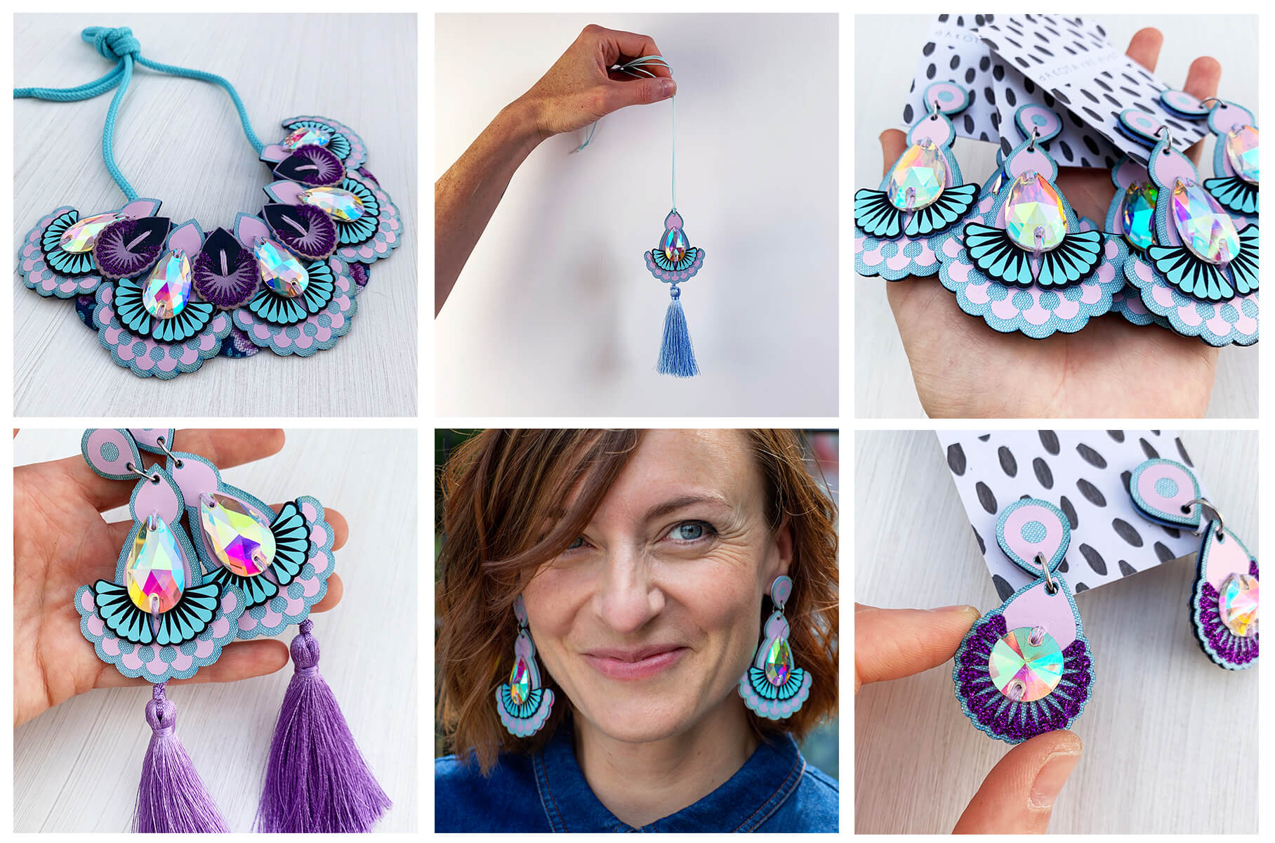 A block of six photos. Each one shows a piece of lilac and light blue laser cut jewellery. A large bib necklace, a tassel pendant necklace held in a white hand against a plain white wall, a close up of a hand holding a selection of jewelled earrings, a pair of tassel earrings held in a white hand, a white woman with brown hair wearing the same jewelled earrings and a smaller pair of lilac and light blue earrings are held between a woman's thumb and fore finger against a white background.